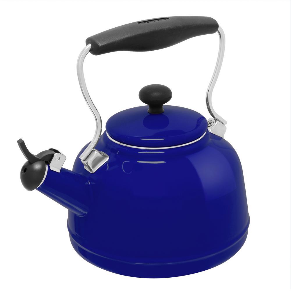 Vintage 6.8-Cups Enamel-on-Steel Cobalt Blue Tea Kettle