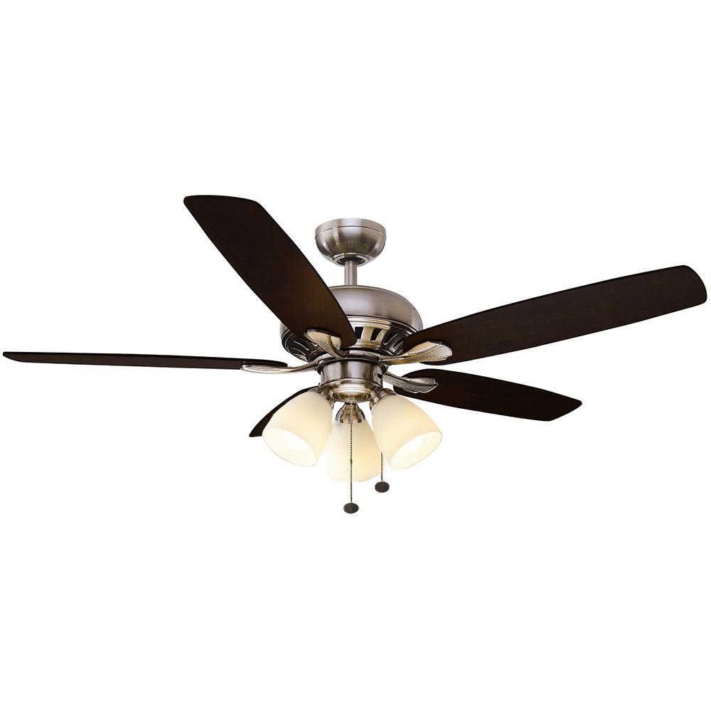 Hampton Bay Rockport 52 In Led Brushed Nickel Ceiling Fan With Light Kit