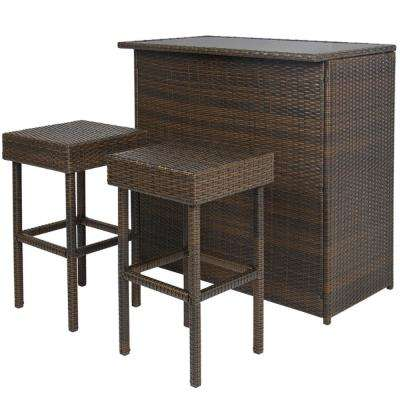Chestnut 3-Piece Wicker Patio Conversation Set