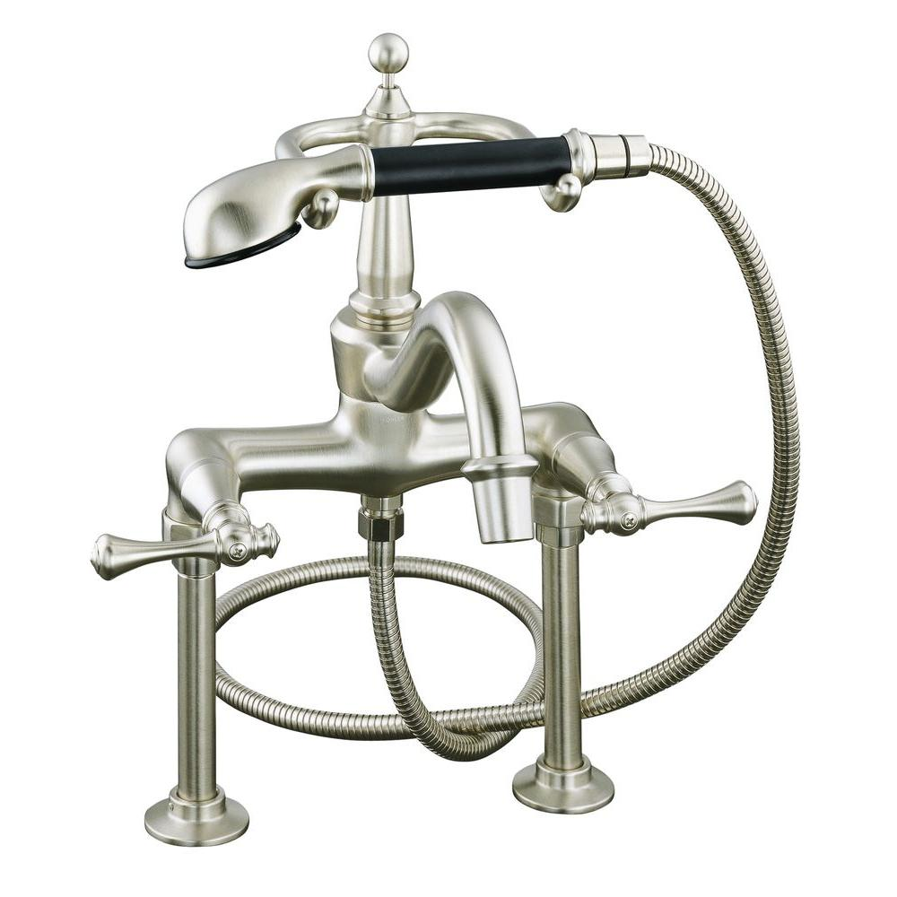 KOHLER Revival 2-Handle Claw Foot Tub Faucet with Hand Shower in Vibrant Brushed Nickel