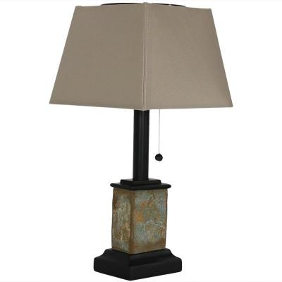 16 in. Square Brown Small Outdoor Slate Solar Table Lamp