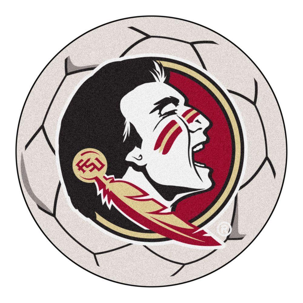 NCAA Florida State University Seminole Logo Cream 2 ft. x 2 ft. Round Area Rug