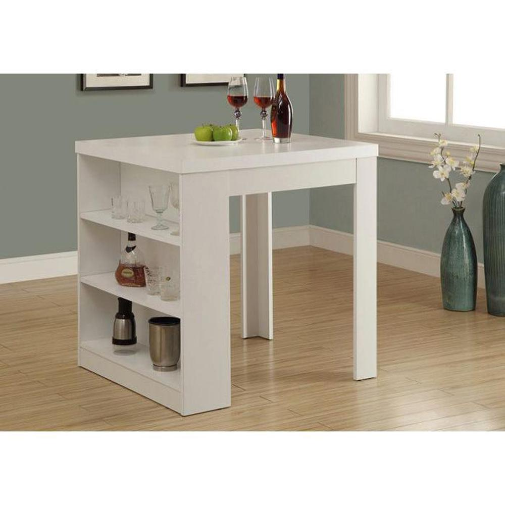 Monarch Specialties Counter Height Dining Table White Storage Pub Bar