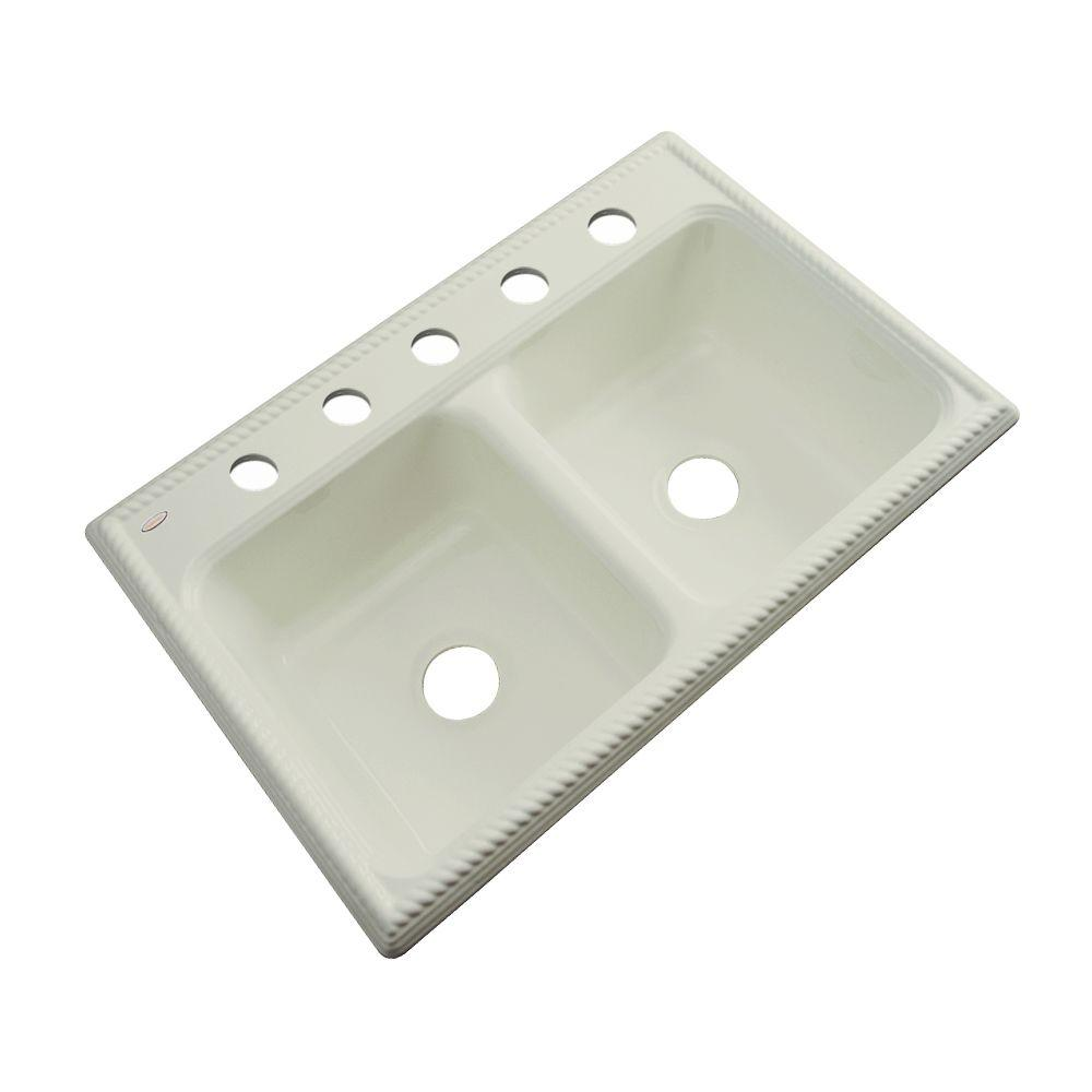 Thermocast Seabrook Drop-In Acrylic 33 in. 5-Hole Double Bowl Kitchen Sink in Jersey Cream