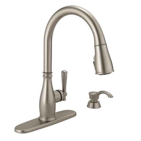 Charmaine Single-Handle Pull-Down Sprayer Kitchen Faucet with Soap Dispenser and ShieldSpray Technology in Stainless