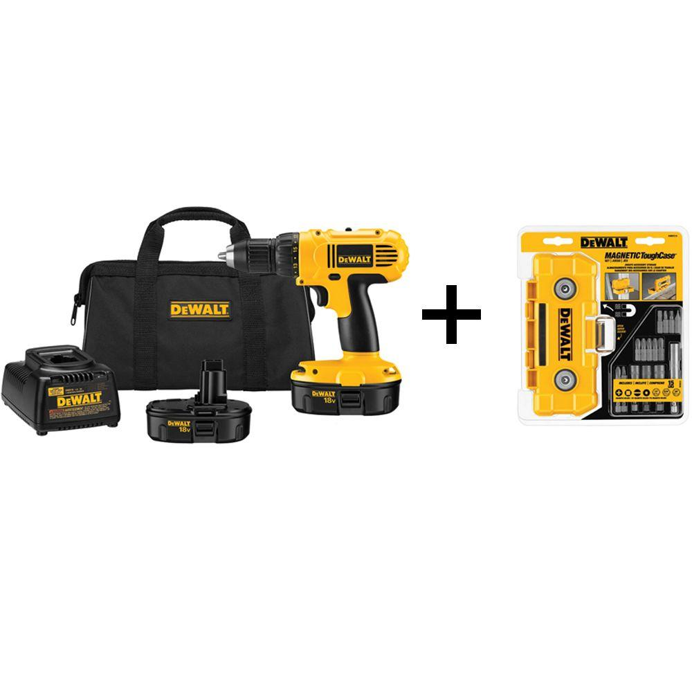 18-Volt NiCd Cordless 1/2 in. Compact Drill/Driver Kit with 15-Piece Screw