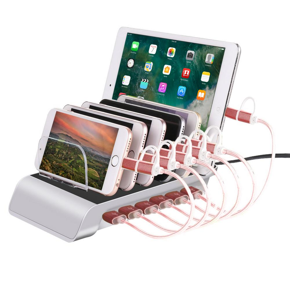 10.2 Amp 6-Port Silver USB Charging Station