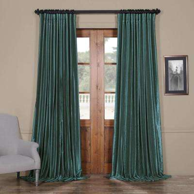 Peacock Blue Blackout Extra Wide Vintage Textured Faux Dupioni Curtain - 100 in. W x 84 in. L