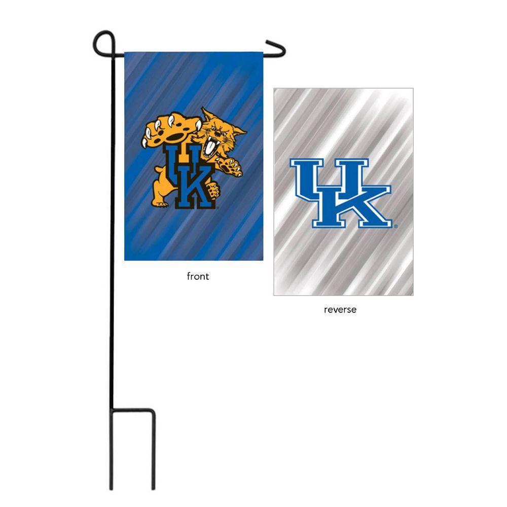 Fan Essentials NCAA 18 in. x 12.5 in. University of Kentucky Suede Garden Flag with 3-2/3 ft. Metal Flagpole