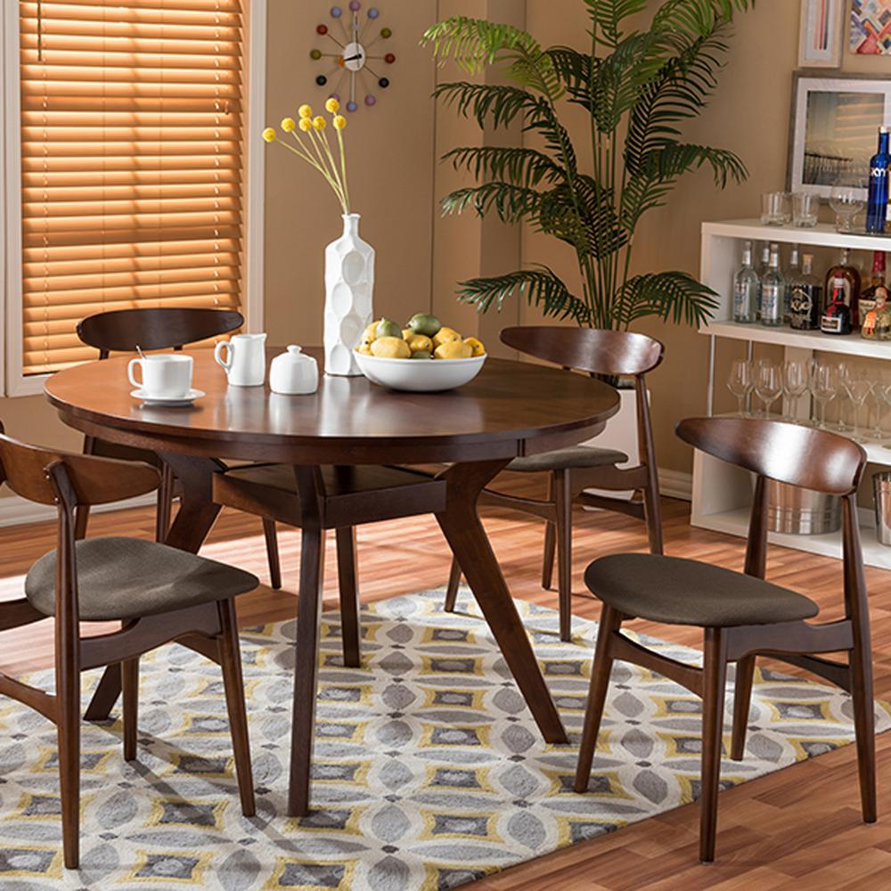 dining room sets. Flamingo 5 Piece Dark Brown Fabric Upholstered Dining Set Room Sets  Kitchen Furniture The Home Depot