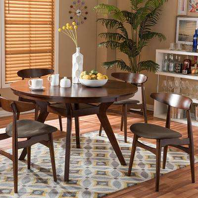 Flamingo 5 Piece Dark Brown Fabric Upholstered Dining Set