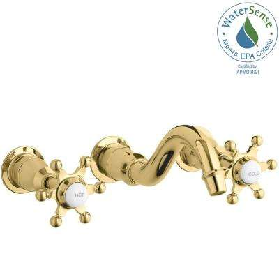 Antique Wall-Mount Bathroom Faucet Trim Kit with 6-Prong Handles in Polished Brass