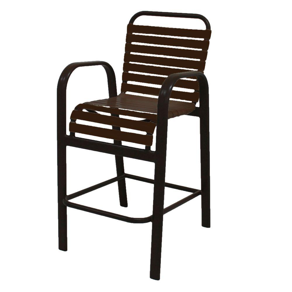 Marco Island Dark Cafe Brown Commercial Grade Aluminum Vinyl Strap Outdoor Bar Stool In Leisure
