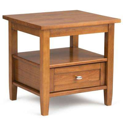 Warm Shaker Solid Wood 20 in. Light Golden Brown Wide Rustic End Side Table