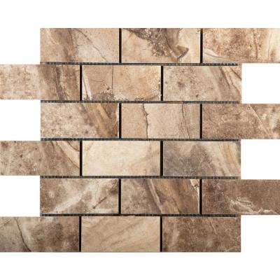 Eurasia Noce 13.07 in. x 13.07 in. x 10mm Porcelain Mesh-Mounted Mosaic Tile