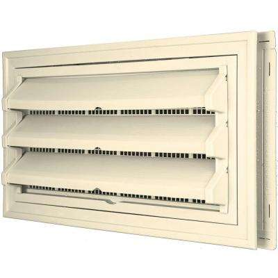 9-3/8 in. x 17-1/2 in. Foundation Vent Kit w/ Trim Ring & Optional Fixed Louvers (Galvanized Screen) #020 Heritage Cream