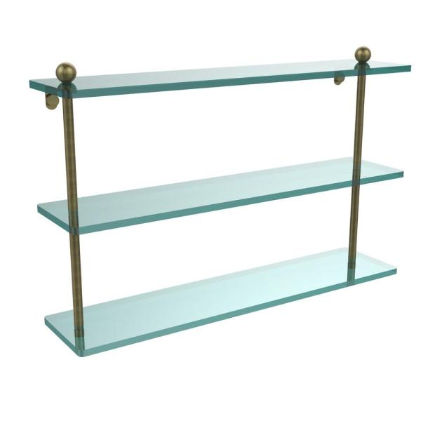 Allied Brass 22 In L X 15 In H X 5 In W 3 Tier Clear Glass Bathroom Shelf In Antique Brass Pr 5 22 Abr The Home Depot