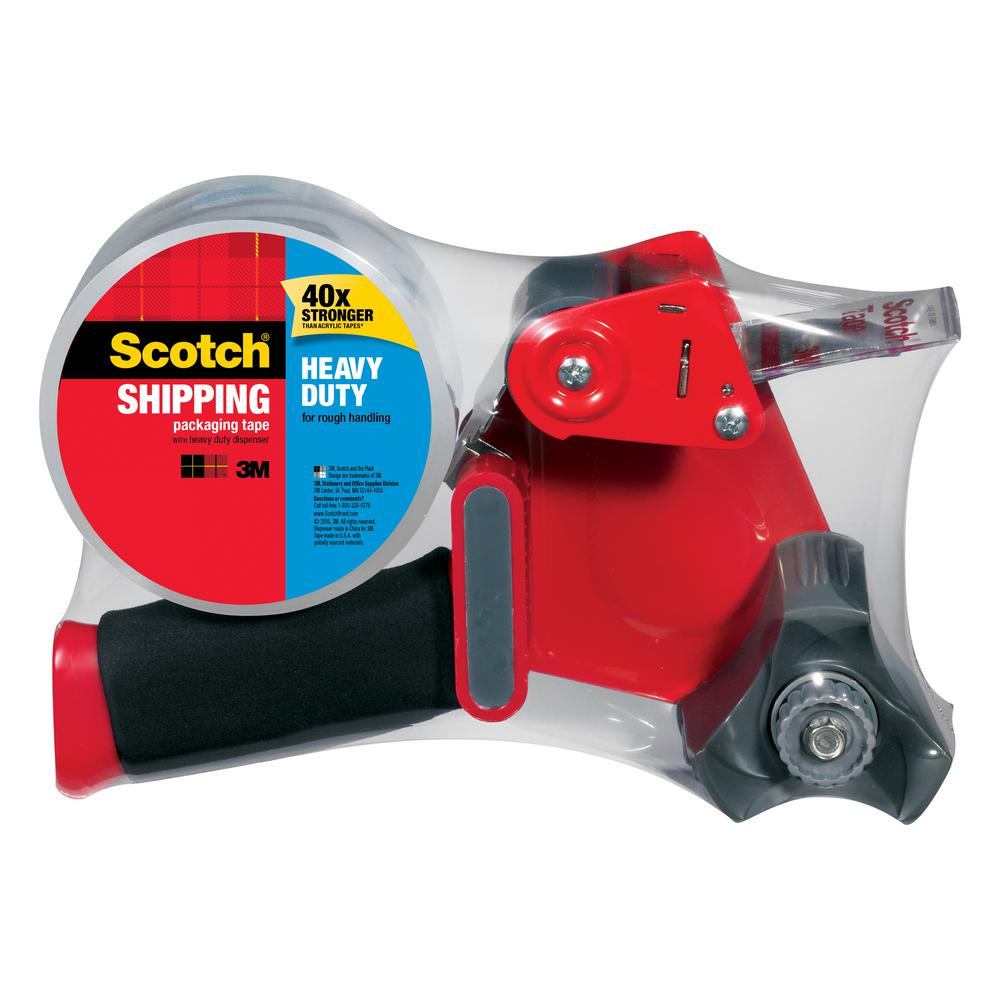 3M Scotch 1.88 in. x 54.6 yds. Heavy Duty Shipping Packaging Tape with Dispenser (Case of 6)