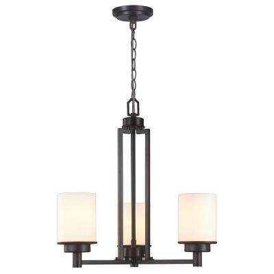 3-Light Oil-Rubbed Bronze Chandelier with White Frosted Glass Shade