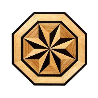 Octagon Medallion Unfinished Decorative Wood Floor Inlay MT003 - 5 in. x 3 in. Take Home Sample