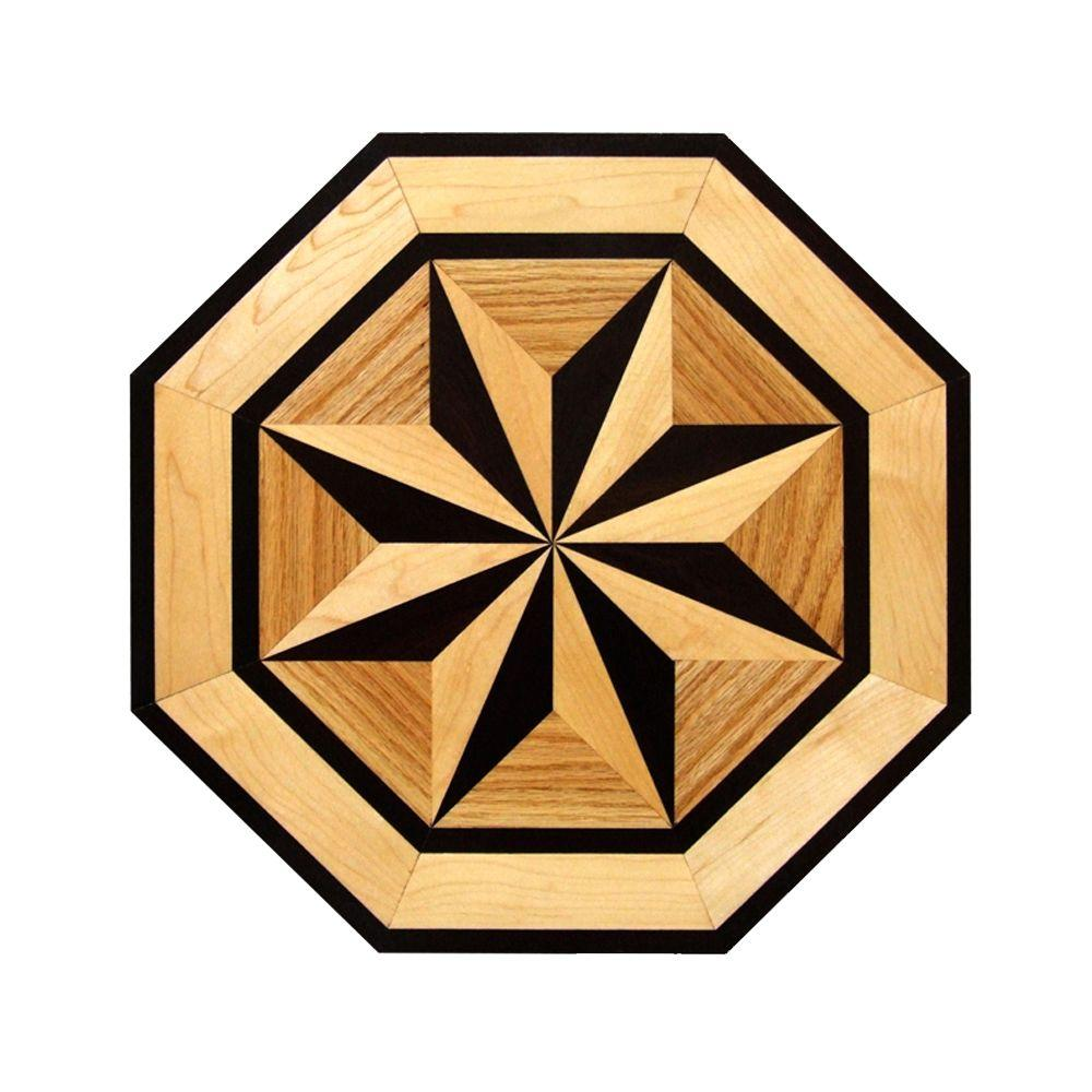 Octagon Medallion Unfinished Decorative Wood Floor Inlay MT003 - 5 in.