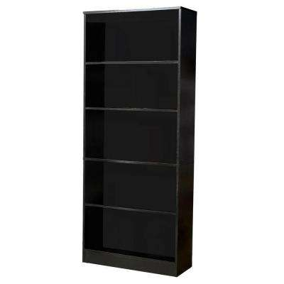 Black Wood Open Bookcase