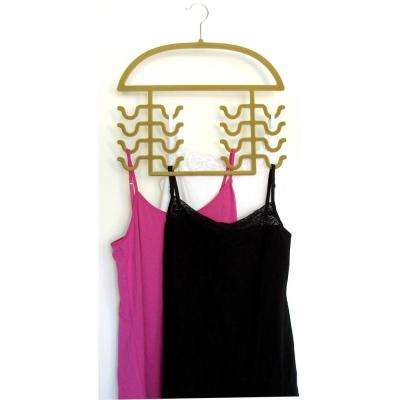 16-Prong Tan Flocked Plastic Tank Top Hanger (2-Pack)