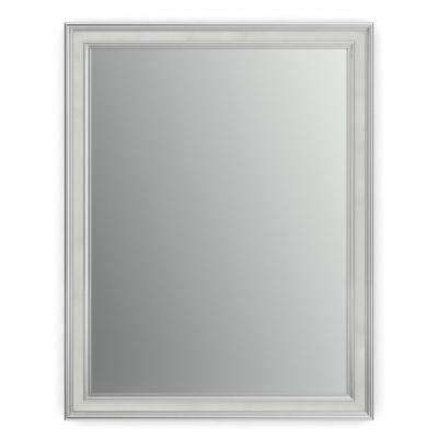 28 in. x 36 in. (M1) Rectangular Framed Mirror with Standard Glass and Flush Mount Hardware in Chrome and Linen