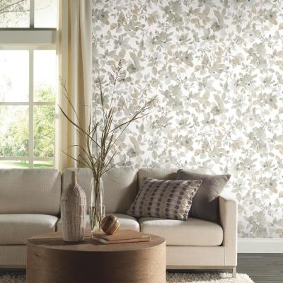 28.18 sq. ft. Neutral Watercolor Floral Peel and Stick Wallpaper
