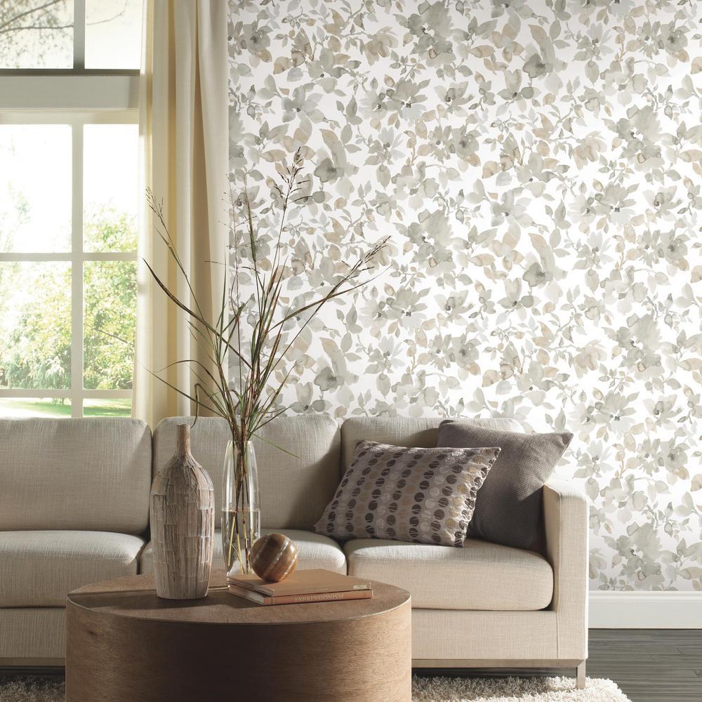 Neutral Watercolor Floral Vinyl Peelable Wallpaper (Covers 28.18 sq. ft.)