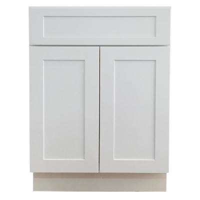 Shaker Ready to Assemble 24 in. W x 21 in. D x 34.5 in. H Birch Base Vanity Cabinet with 2-Doors in White