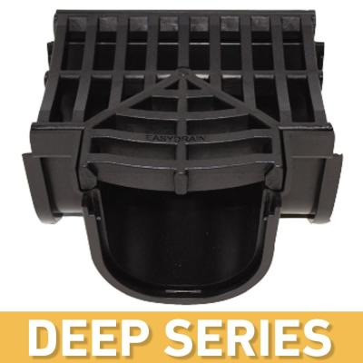 Deep Series Tee for 5.4 in. Trench and Channel Drain Systems w/ Black Grate