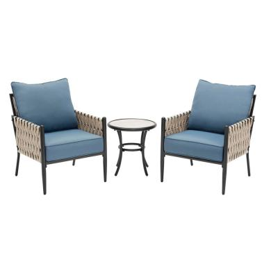 Dockview 3-Piece Metal Outdoor Patio Bistro Set with Blue Cushions