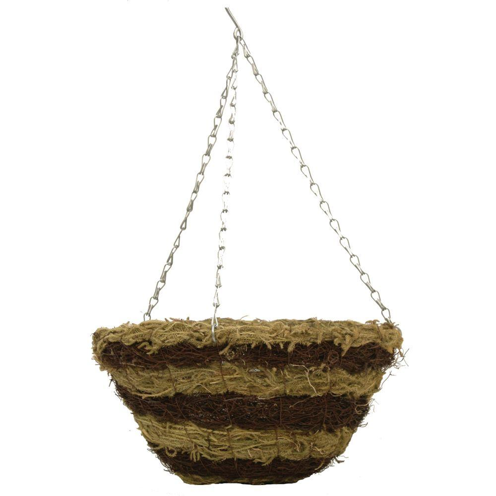 Pride Garden Products 12 in. Brushwood and Fern Round Hanging Planter with Chain-DISCONTINUED