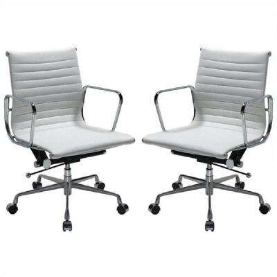Ellwood Mid-Back Adjustable Office Chair in White (Set of 2)