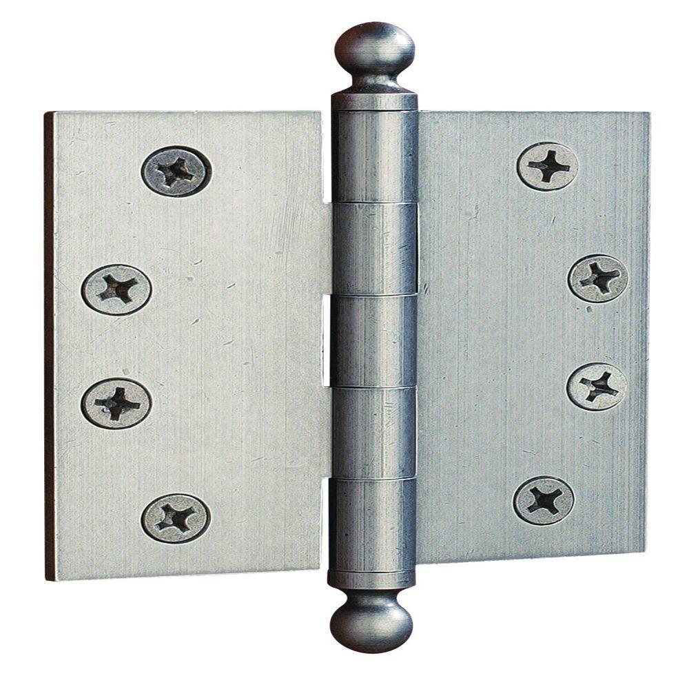 4 in. x 4 in. Distressed Nickel Ball Tip Door Hinge