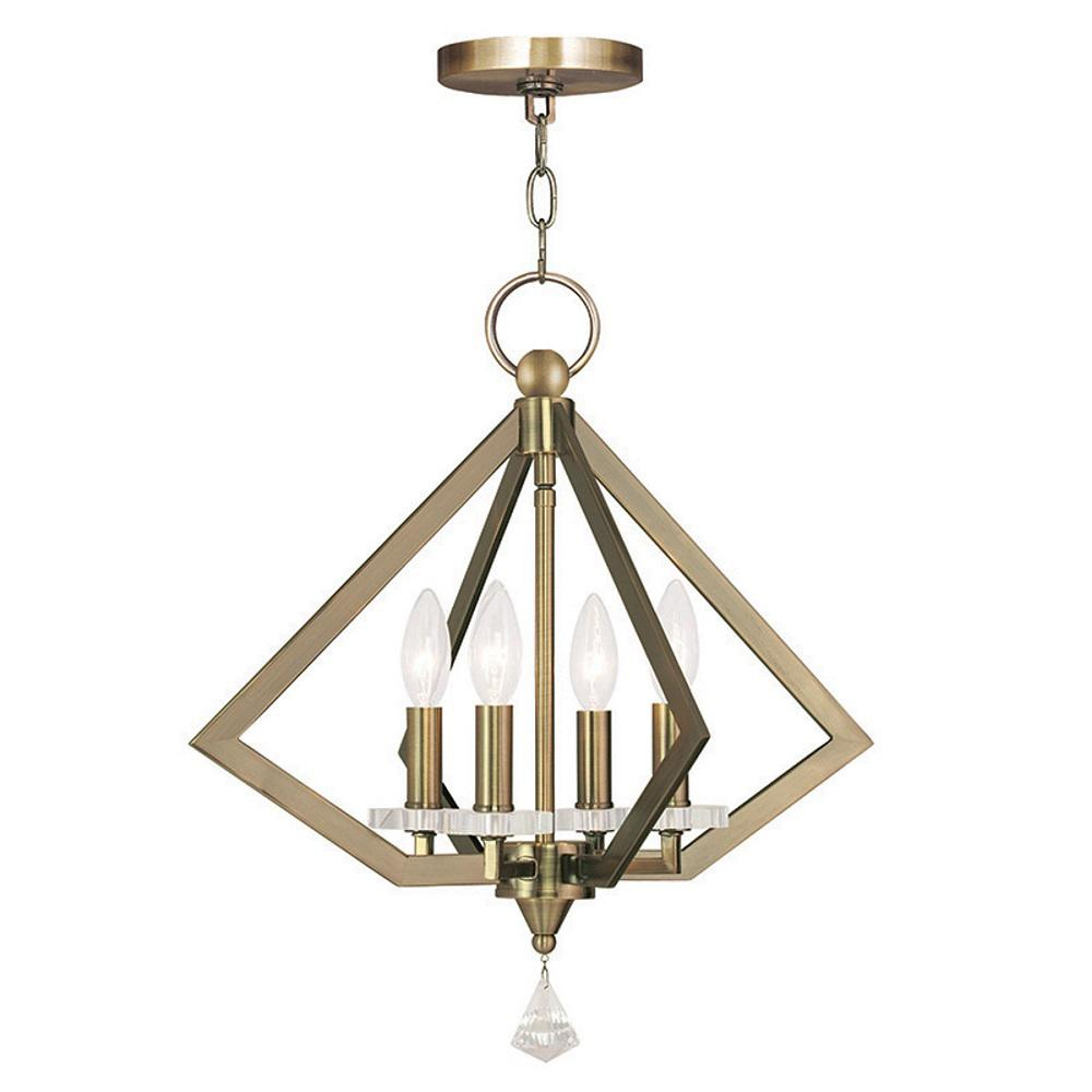 Diamond 4-Light Antique Brass Chandelier