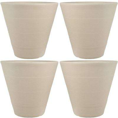 16 in. Beige Walter Poly Flower Pot Planter (4-Pack)