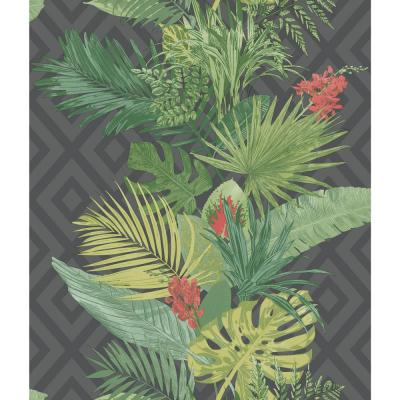 56 sq. ft. Outdoors in Tropical Oasis Stripe Wallpaper