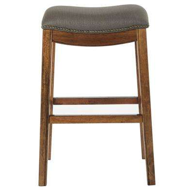 Austin 31 in. Klein Otter Fabric with Antique Bronze Nailheads Barstool