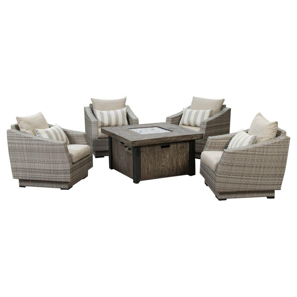 Cannes 5-Piece Patio Fire Pit Seating Set with Slate Grey Cushions