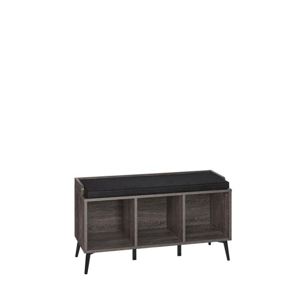 RiverRidge Home Woodbury Weathered Wood Storage Bench with Cubbies