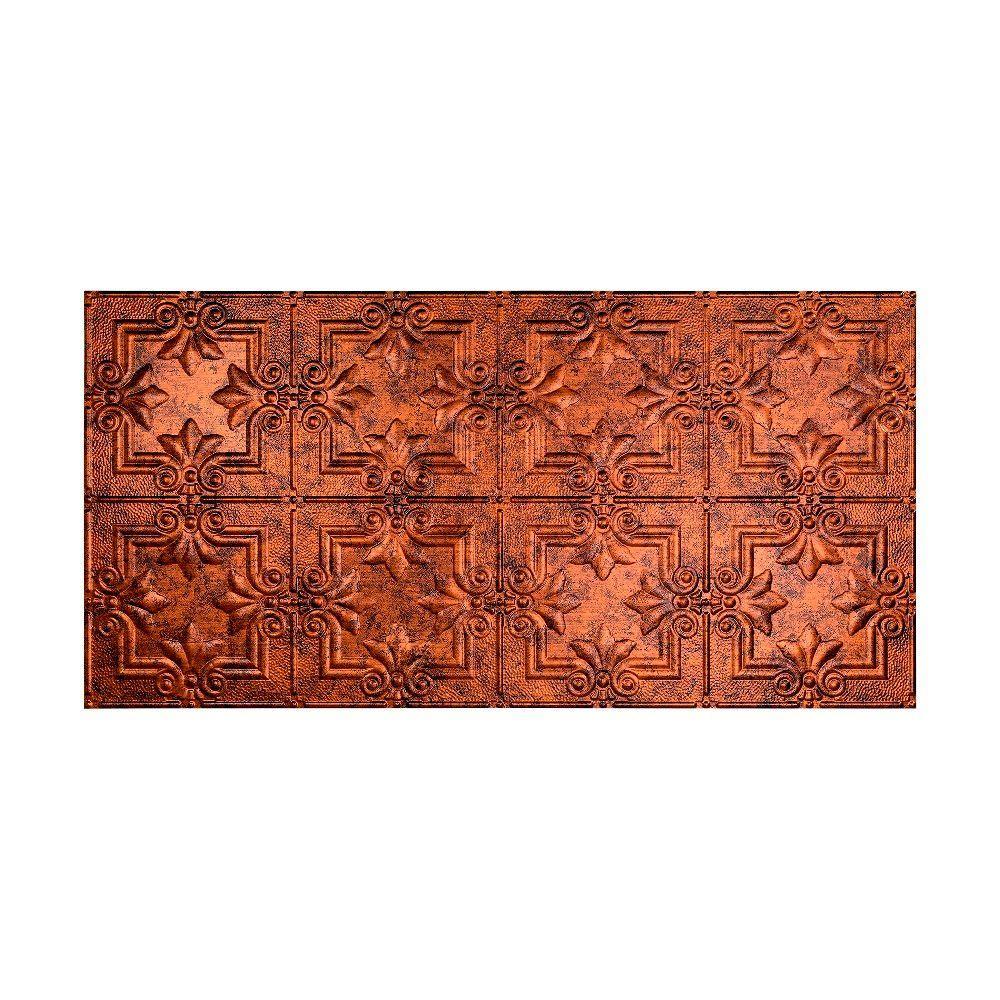 Regalia 2 ft. x 4 ft. Vinyl Glue-Up Ceiling Tile in Moonstone Copper