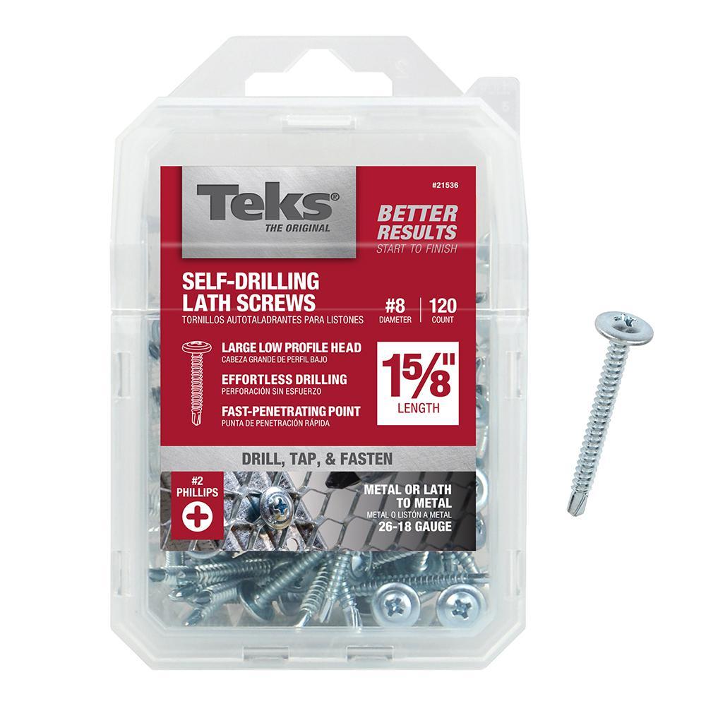 Teks #8 x 1-5/8 in. Phillips Zinc-Plated Steel Truss-Head Lath Screws (120-Pack)