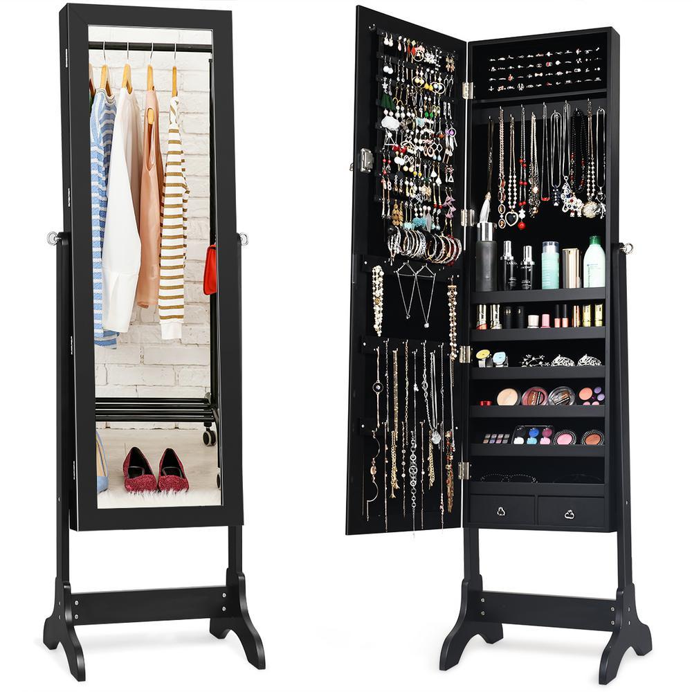 Black MDF Glass Jewelry Cabinet Storage Organizer