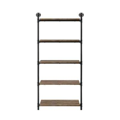 Thomas 13.75 in. x 29.75 in. x 61 in. Sand Black & Light Pure Copper Wood Floating Decorative Wall Shelves