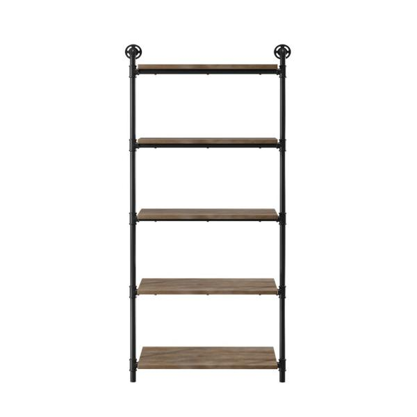 Furniture of America Thomas 13.75 in. x 29.75 in. x 61 in. Sand Black & Light Pure Copper Wood Floating Decorative Wall Shelves