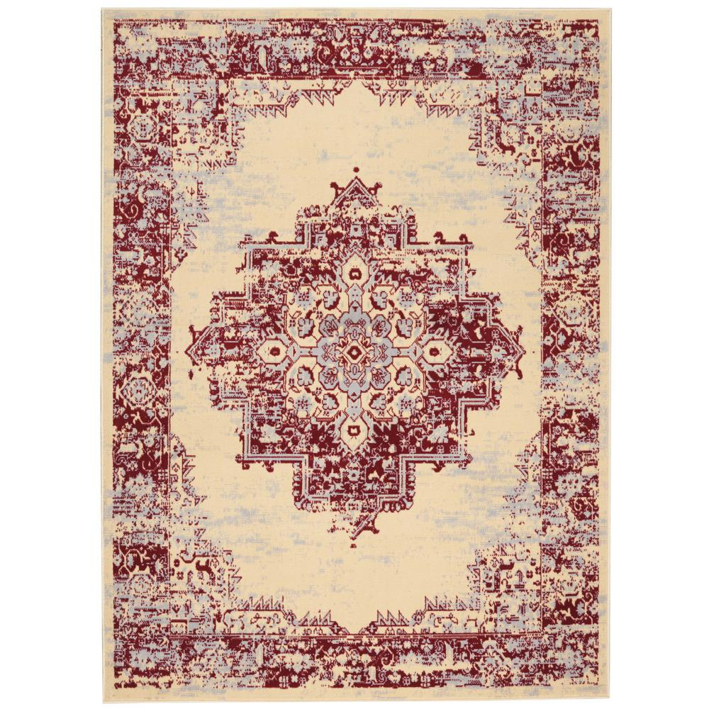 Nourison Grafix Cream Red 8 Ft X 10 Ft Area Rug 395108 The Home