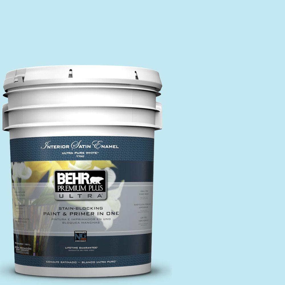BEHR Premium Plus Ultra 5-gal. #P480-1 Niagara Mist Satin Enamel Interior Paint