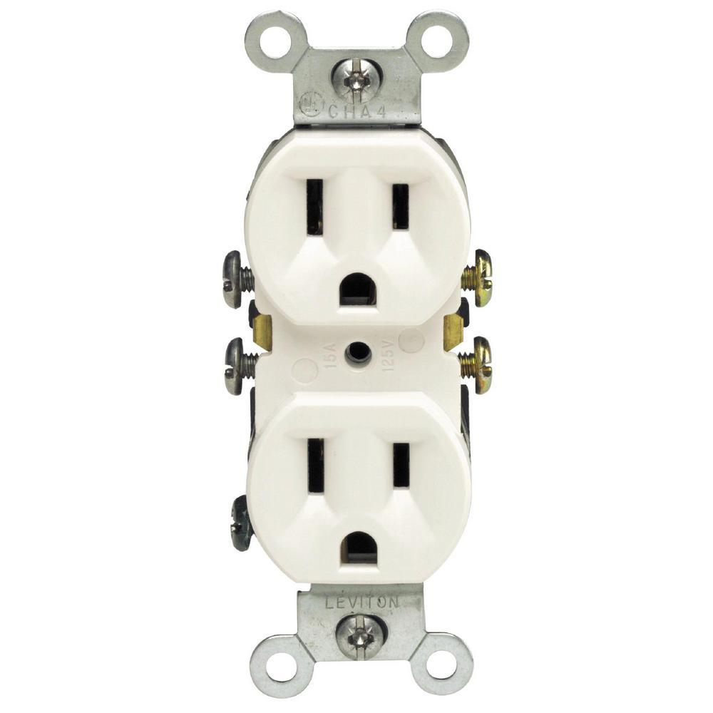 15 Amp Residential Grade Grounding Duplex Outlet, White
